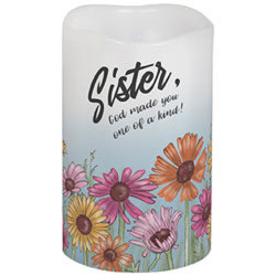 Sister, God made you one of a kind! Flameless Candle from your local Clinton,TN florist, Knight's Flowers