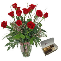 Long Stem Red Roses With Fudge from your local Clinton,TN florist, Knight's Flowers