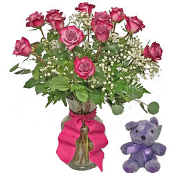 Lavender Roses With Plush Animal from your local Clinton,TN florist, Knight's Flowers