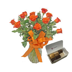 Orange Roses With Fudge from your local Clinton,TN florist, Knight's Flowers