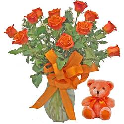 Orange Roses With Plush Animal from your local Clinton,TN florist, Knight's Flowers