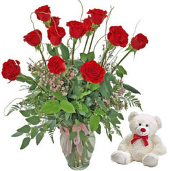 Dozen Long Stem Red Roses With Plush Animal from your local Clinton,TN florist, Knight's Flowers
