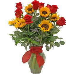 Roses and Sunflowers from your local Clinton,TN florist, Knight's Flowers