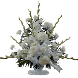 White Elegance Funeral Basket from your local Clinton,TN florist, Knight's Flowers