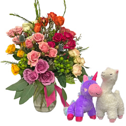 Color Crush Rose Garden w/plush from your local Clinton,TN florist, Knight's Flowers