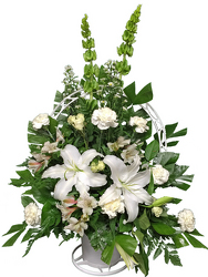 White Sympathy and funeral flowers