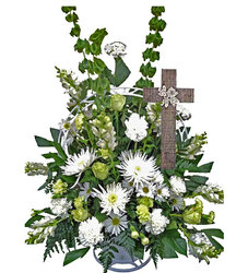 White Serenity Basket with Cross from your local Clinton,TN florist, Knight's Flowers