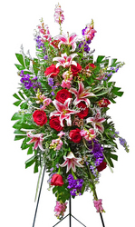 Stargazers & Roses Standing Spray from your local Clinton,TN florist, Knight's Flowers