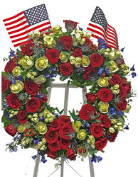 All American Wreath Standing Spray from your local Clinton,TN florist, Knight's Flowers