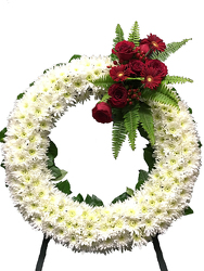 Bleeding Wreath Standing Spray  from your local Clinton,TN florist, Knight's Flowers