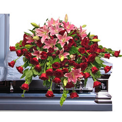 Stargazers & Roses Casket Spray from your local Clinton,TN florist, Knight's Flowers