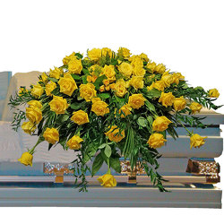 Yellow Rose Casket Spray  from your local Clinton,TN florist, Knight's Flowers