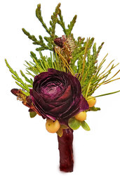 Wild Romance Boutonniere-Burgundy  from your local Clinton,TN florist, Knight's Flowers