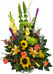 Autumn Tribute Funeral Basket from your local Clinton,TN florist, Knight's Flowers