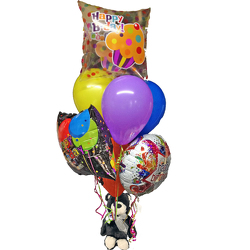 Birthday Balloon Bouquet w/ Plush from your local Clinton,TN florist, Knight's Flowers
