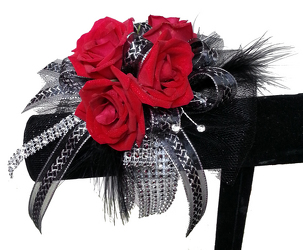 Black Tie Wrist Corsage from your local Clinton,TN florist, Knight's Flowers