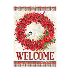 Small Winter Berry Welcome Flag  from your local Clinton,TN florist, Knight's Flowers