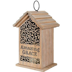 Amazing Grace Wooden House Cutout Lantern from your local Clinton,TN florist, Knight's Flowers