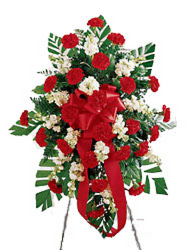 Red & Ivory Standing Spray from your local Clinton,TN florist, Knight's Flowers