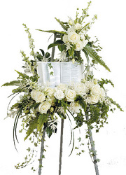 White Standing Spray with Bible from your local Clinton,TN florist, Knight's Flowers