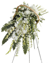 White Standing Spray in Fireside Basket from your local Clinton,TN florist, Knight's Flowers
