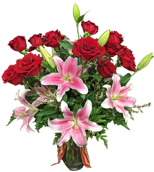 Roses & Lilies Bouquet from your local Clinton,TN florist, Knight's Flowers