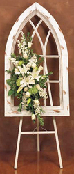 Treasured gothic Window Arrangement from your local Clinton,TN florist, Knight's Flowers
