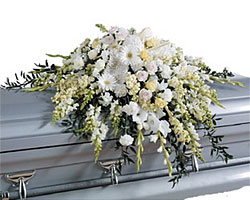 White Elegance Casket Spray from your local Clinton,TN florist, Knight's Flowers